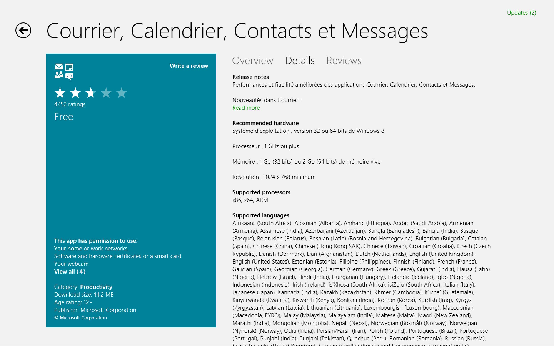 Courrier Et Calendrier.Windows 8 Core Apps Mise A Jour Des Applications Courrier
