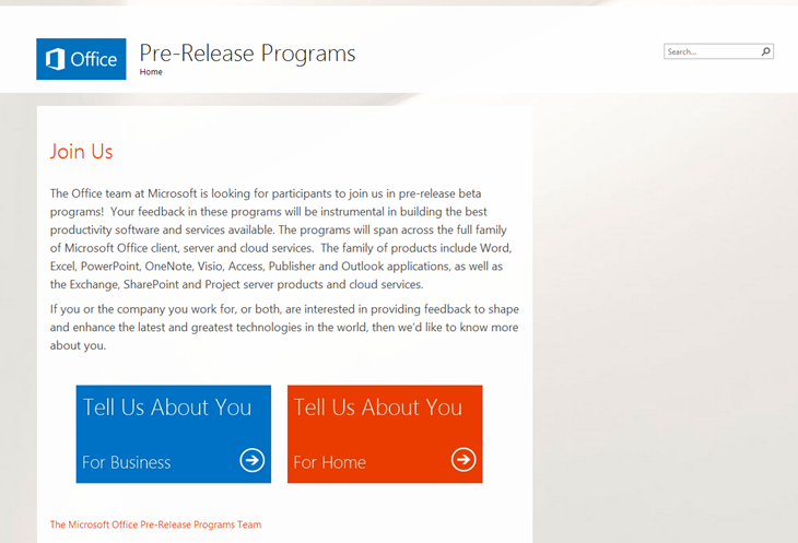 microsoft-office-pre-release-test-program-join-us-webpage