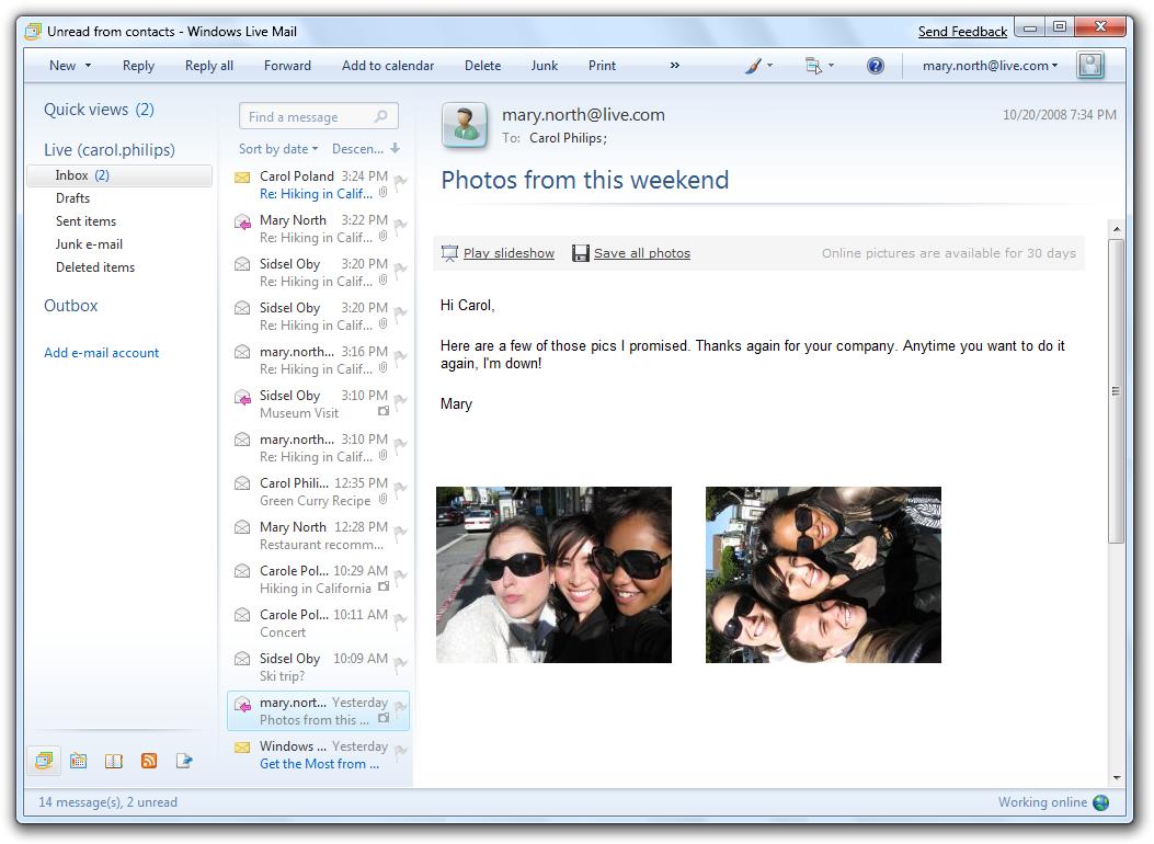 la version beta de windows live mail: