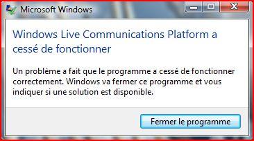 windows live messenger a rencontre un probleme