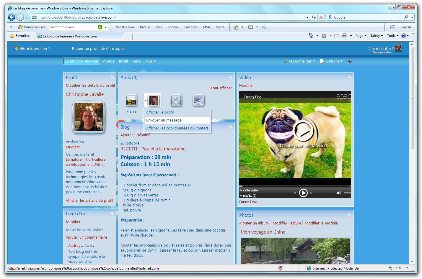windows live spaces: